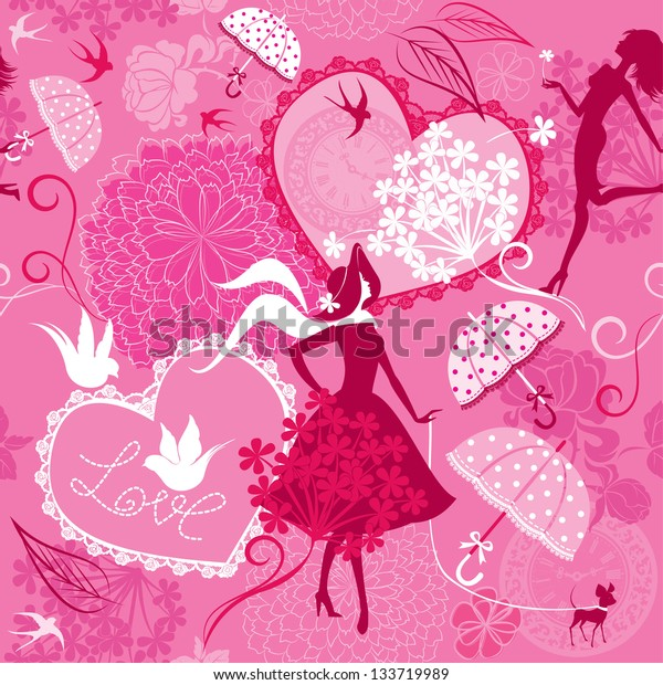 Seamless pattern in pink colors - Silhouettes of fashionable girls, hearts and birds. Raster version