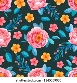Seamless pattern pink coral flowers roses stock illustration seamless pattern from pink coral flowers of roses yellow flowers leaves and twigs mightylinksfo