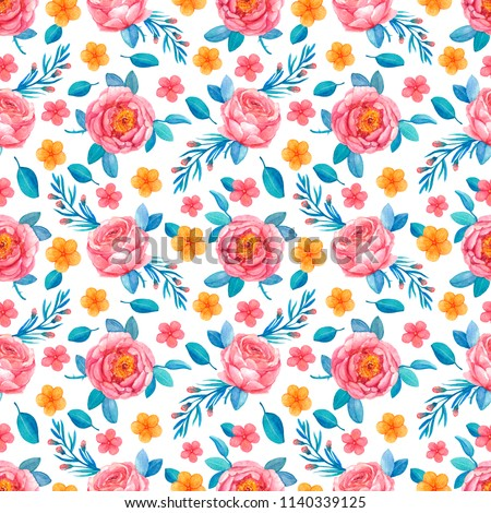 Seamless Pattern Pink Coral Flowers Roses Stock Illustration