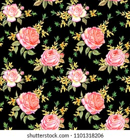 Seamless pattern of pink English roses and forsythia on a black background, watercolor