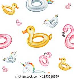 Seamless pattern. Pink Flamingo, Duck, Unicorn inflatable pool floats. Watercolor illustration on white background.