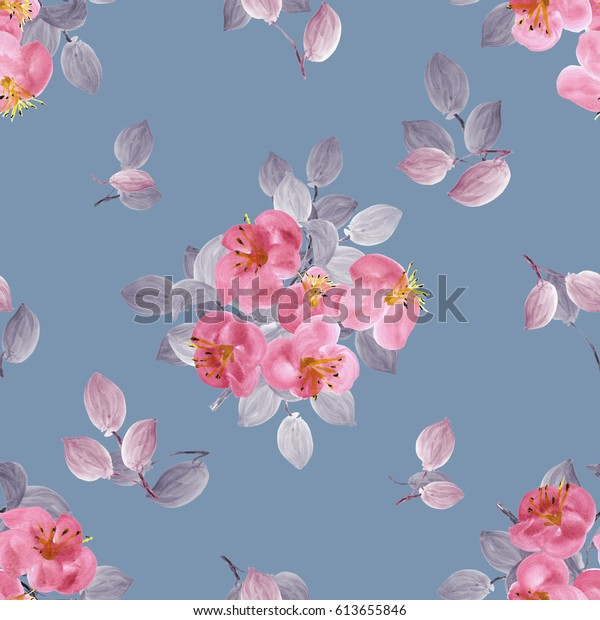 Seamless pattern of pink flowers and branches of apple tree on a deep blue-gray background. Watercolor