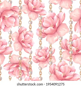 Seamless pattern, pink flowers and gold chains. Floral pattern, watercolor style