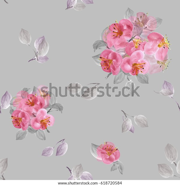 Seamless pattern of pink flowers and gray branches on a gray  background. Watercolor