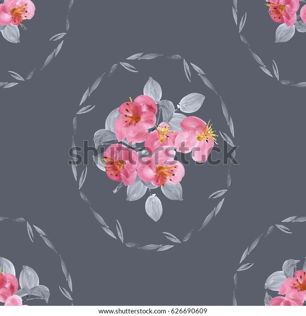 Seamless pattern of pink flowers and gray leaves in a oval frame on a deep gray background. Watercolor