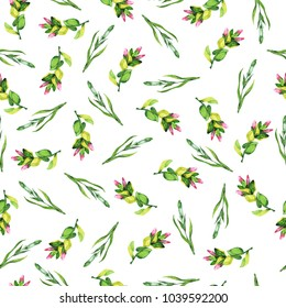 Seamless pattern with pink flowers and green herbs on white background. Hand drawn watercolor illustration.