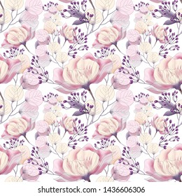 Seamless pattern with pink flowers and leaves on a bright background, watercolor floral pattern, flower rose in pastel color, tillable for wallpaper, card or fabric.