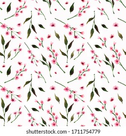 Seamless pattern with pink flowers and leaves, green twigs on a white background