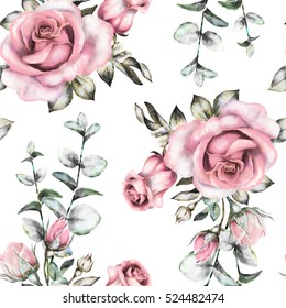 Seamless pattern with pink flowers and leaves on white background, watercolor floral pattern, flower rose in pastel color, seamless flower pattern for wallpaper, card or fabric