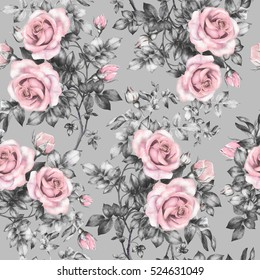 Seamless pattern with pink flowers and leaves on gray background, watercolor floral pattern, flower rose in pastel color, seamless flower pattern for wallpaper, card, fabric