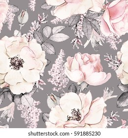 Seamless pattern with pink flowers and leaves on gray background, watercolor floral pattern, flower rose in pastel color, tileable for wallpaper, card or fabric