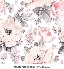 Seamless pattern with pink flowers and leaves on white background, watercolor floral pattern, flower rose in pastel color, tileable for wallpaper, card or fabric