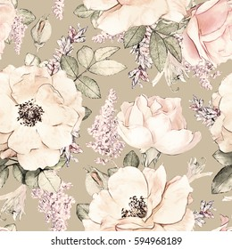 Seamless pattern with pink flowers and leaves on beige  background, watercolor floral pattern, flower rose in pastel color, tileable for wallpaper, card or fabric
