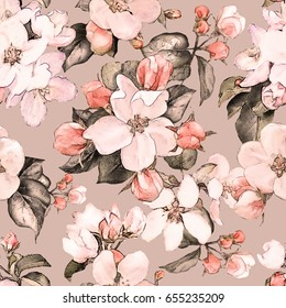 Seamless pattern with pink flowers and leaves on gray background, watercolor floral pattern, flower in pastel color, tile for wallpaper, card or fabric