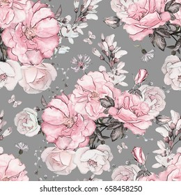 Seamless pattern with pink flowers and leaves on gray  background, watercolor floral pattern, flower rose in pastel color, tile for wallpaper, card or fabric