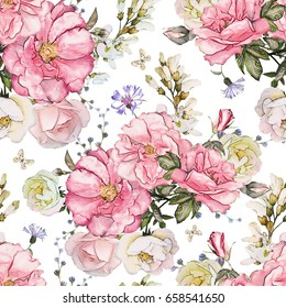 Seamless pattern with pink flowers and leaves on white background, watercolor floral pattern, flower rose in pastel color, tile for wallpaper, card or fabric