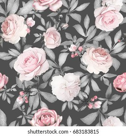 Seamless pattern with pink flowers and leaves on gray background. Watercolor floral pattern, flower rose in pastel color, tile for wallpaper or fabric.