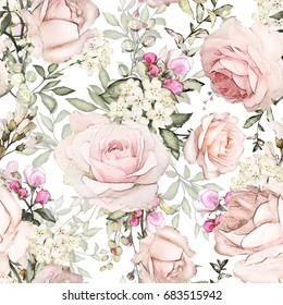 Seamless pattern with pink flowers and leaves on white background. Watercolor floral pattern, flower rose in pastel color, tile for wallpaper or fabric.