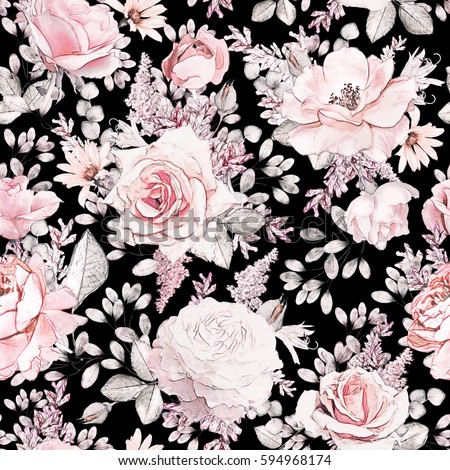 Seamless pattern pink flowers leaves on stock illustration 594968174 seamless pattern with pink flowers and leaves on black background watercolor floral pattern flower mightylinksfo