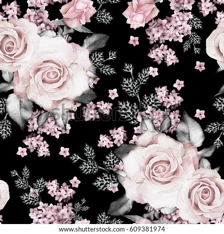 Seamless Pattern Pink Flowers Leaves On Stock Illustration 609381974
