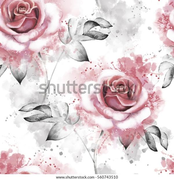 Illustration De Stock De Motif Harmonieux De Fleurs Roses Et