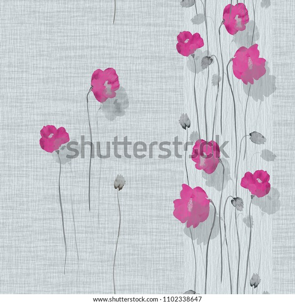 Seamless pattern of pink flowers of poppies on a light  turquoise background. Watercolor