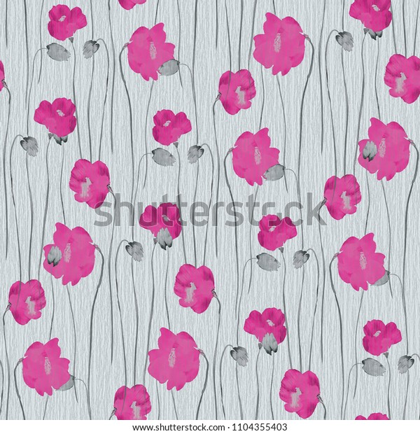 Seamless pattern of pink flowers of poppies on a turquoise background. Watercolor -1