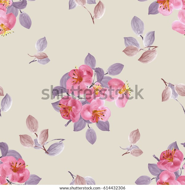 Seamless pattern of pink flowers and violet branches on a beige background. Watercolor