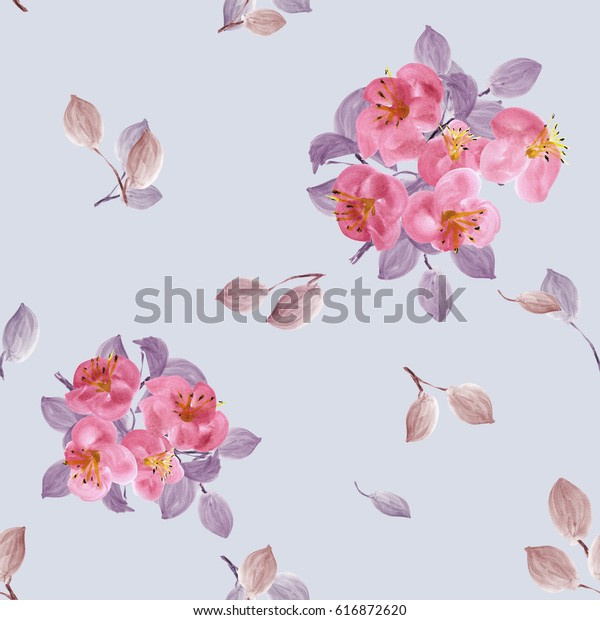 Seamless pattern of pink flowers and violet branches on a blue  background. Watercolor