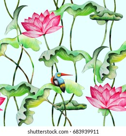 Seamless pattern with pink lotuses and kingfisher. Watercolor painting of water lily with green leaves and small bird. Hand drawn repeatable vintage japanese style background. Raster illustration.