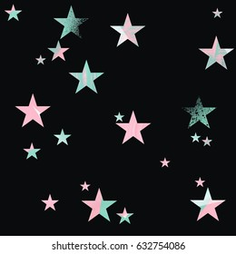 Seamless pattern. Pink and mint green stars with brush texture on black background