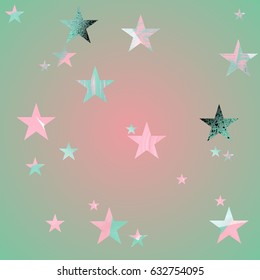 Seamless pattern. Pink and mint green stars with brush texture on gradient background. Soft changes of color