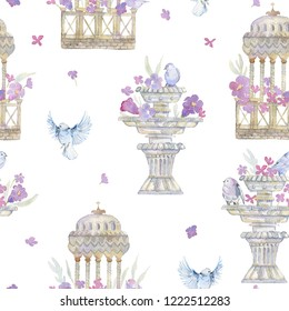 Seamless pattern with pink peonies, roses, birds and antique garden urns. Romantic flowers and vintage sculpture. Gentle background in victorian style. Watercolor illustration