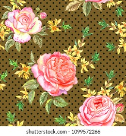 Seamless pattern of pink roses and sprigs of forsythia on a brown background with polka dots, watercolor.