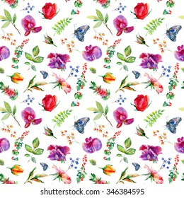 Seamless pattern with pink Sweet pea, Lathyrus odoratus, leaves. Watercolor flowers. Vintage. Can be used for gift wrapping paper and other backgrounds.