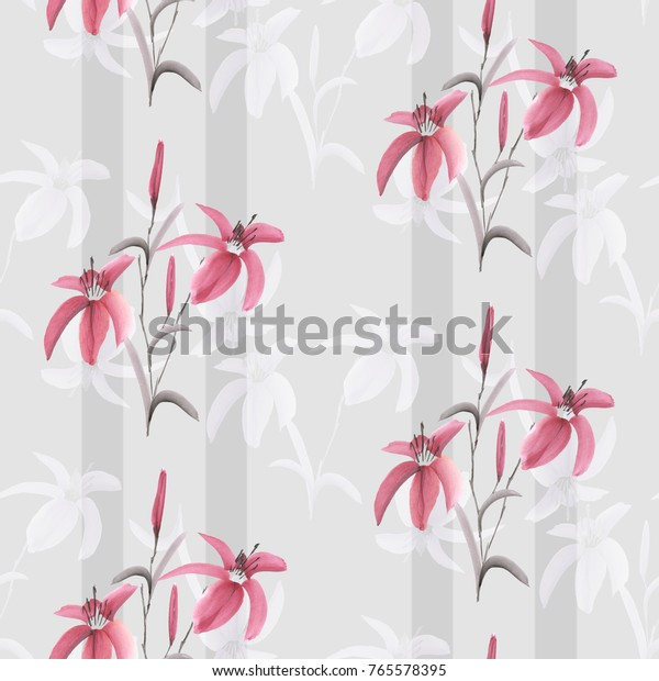 Seamless pattern of pink and white flowers of lily on a light gray background with gray vertical stripes. Watercolor