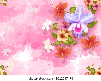 Seamless pattern pink yellow white hibiscus flowers and purple Orchid flower vintage on pink pastel abstrack background, watercolor stlye.illustration digital art painting