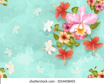 Seamless pattern pink yellow white hibiscus flowers and pink Orchid flower vintage on Green pastel abstrack background, watercolor stlye.illustration digital art painting