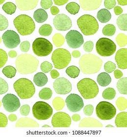 Seamless pattern of polka dots. The polka dot pattern. Watercolor pattern. Green, natural. Grass, natural. Isolated.