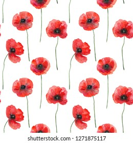 Seamless pattern with poppies, hand drawn illustration