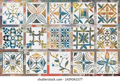 Seamless pattern with portuguese tiles in talavera style. Azulejo, moroccan, mexican ornaments, vintage tile decoration abstract background.