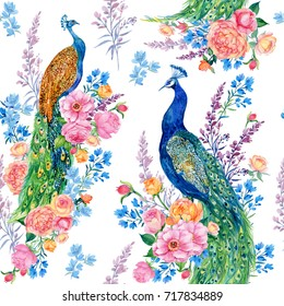 seamless pattern for print, fashion fabric ,textile ,Wallpaper. beautiful birds, peacocks and flowers . watercolor illustration