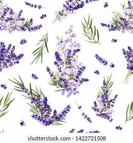 Seamless pattern in a Provence style with lavender flowers, arrangements, leaves and herbs hand drawn in watercolor isolated on a white background.Watercolor illustration.Ideal for wallpaper or fabric