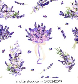 The seamless pattern in a Provence style with lavender flowers, arrangements, bouquets hand drawn in watercolor isolated on a white background. Watercolor illustration. Ideal for wallpaper or fabric