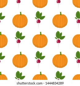Seamless pattern with pumpkin and radish vegetables. Organic food. Cartoon style. Illustration for design, web, wrapping paper, fabric.