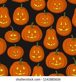 Seamless Pattern, Pumpkins Jack O Lantern, Symbol Halloween Holiday, Isolated on Tile Black Background.