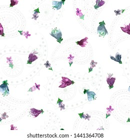 Seamless pattern with purple basil flowers. Loose watercolor style. Pale paisley background