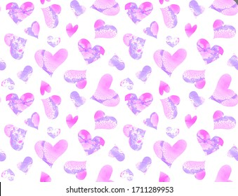 Seamless pattern of purple hearts on a white background