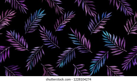seamless pattern with purple leaves on black background painted by watercolor
