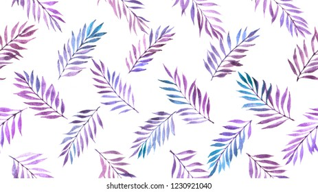 seamless pattern with purple leaves on white background painted by watercolor